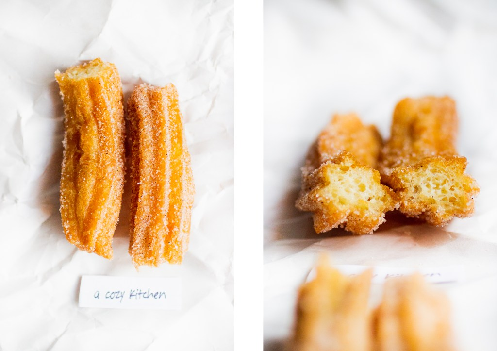 overhead shot of a churro next to a shot of the interior of a churro cut in half