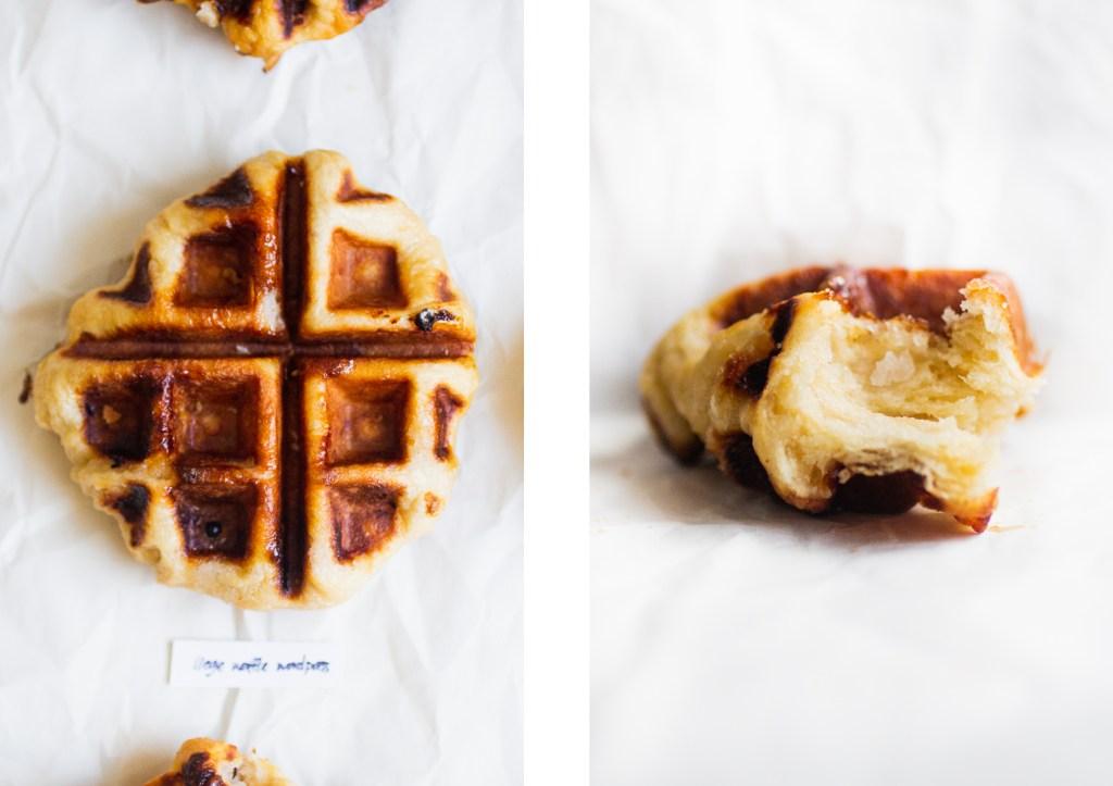 overhead shot of liege waffle next to a horizontal shot of a piece of waffle