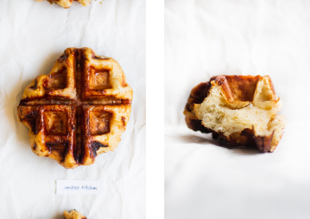 a whole liege waffle next to a piece of a liege waffle