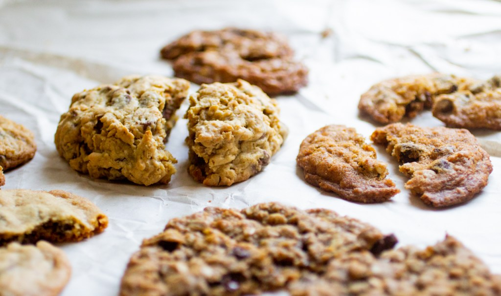 halves of oatmeal cookies on a white background