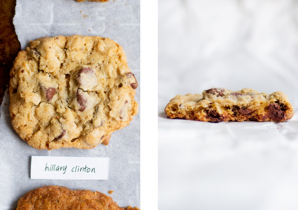 crinkly oatmeal cookie next to cross-section of oatmeal cookie