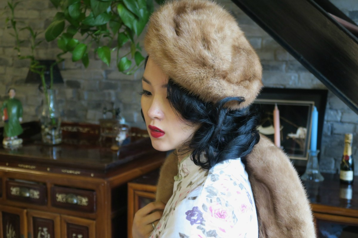 Qipao (cheongsam) with vintage fur jacket and hat