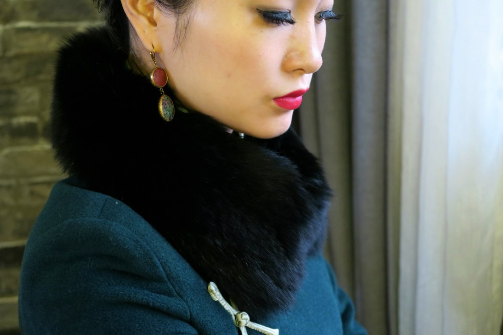 Matching my winter qipao with a vintage black fur collar. Scarves sit easily over the high mandarin collar.