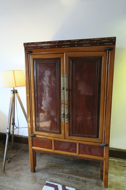 antique Chinese cabinet with decorative inlay