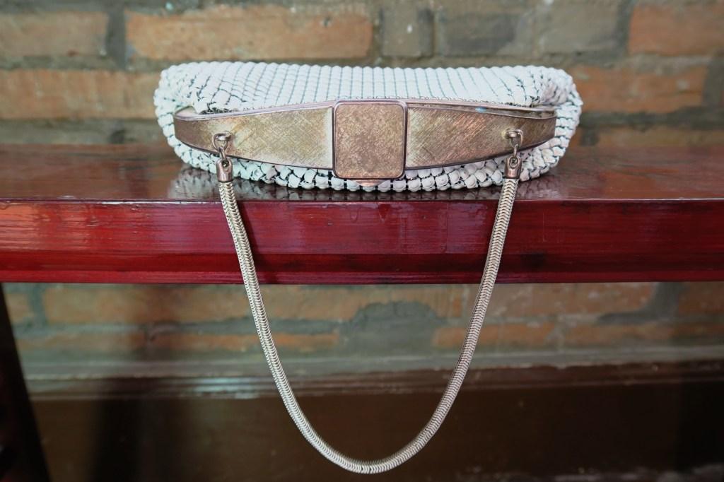 Oroton 60s vintage mesh bag top view