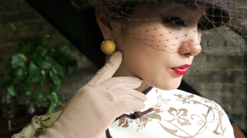 Accessorizing qipao cheongsam with bucket hat, netting and gloves