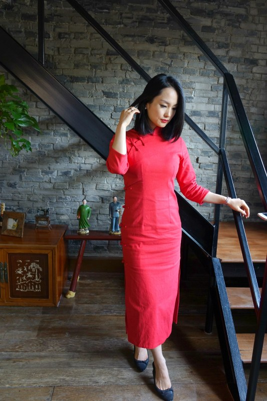 Wearing my traditional red qipao cheongsam with chanel slingbacks