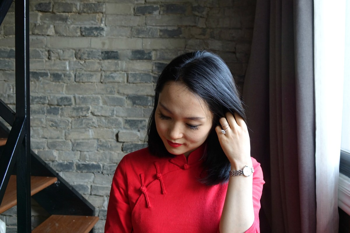 A long bob with a red qipao (cheongsam)