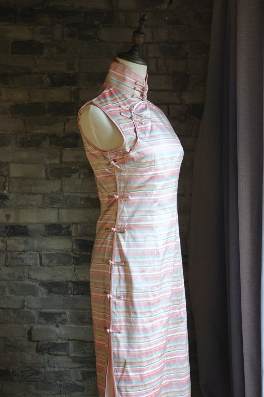 Pink striped sleeveless qipao cheongsam diagonal view