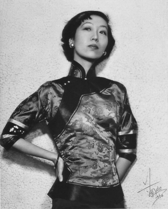Eileen Chang (Zhang Ailing) wearing a qipao top