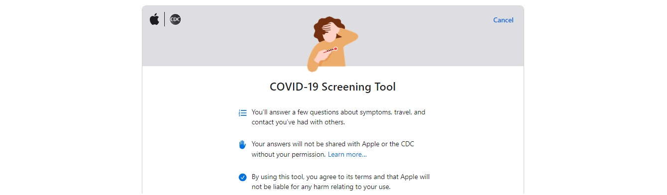 Apple Covid-19 Screening Website