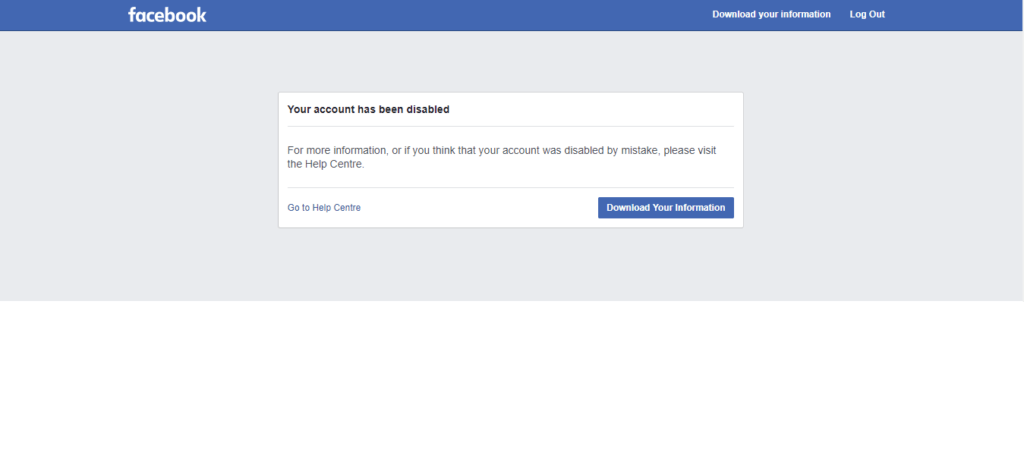 Facebook disabled my account.