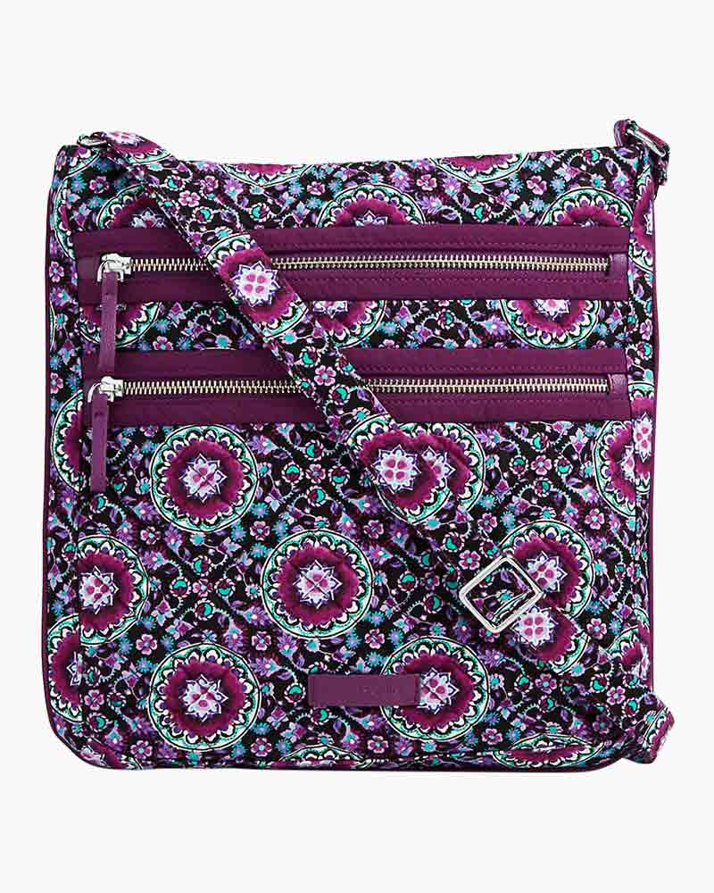 Vera Bradley Iconic Triple Zip Hipster In Lilac Medallion The Paper Store