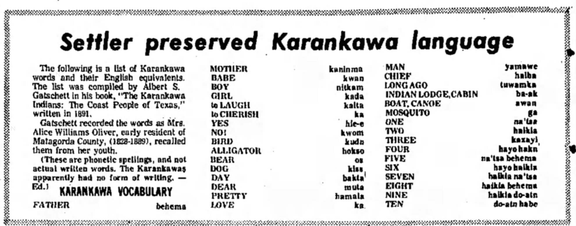 Karankawa Food Facts