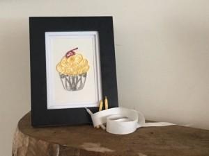 Framed Yellow Gray Cupcake
