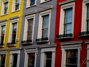 Yellow, gray, red houses