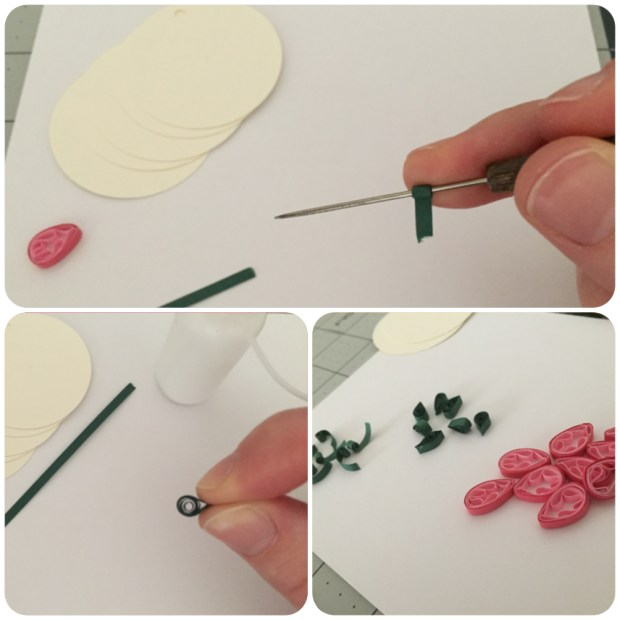 quilling paper flower buds leaves stems