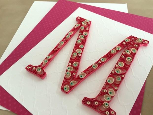 Custom made Pink and White Letter M Monogram