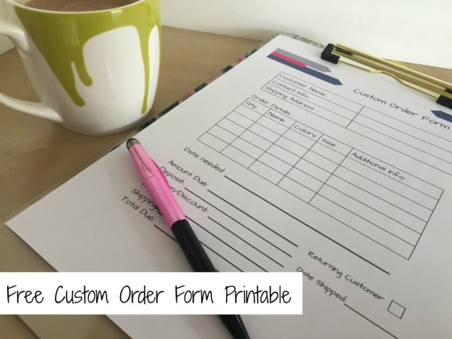 Free Custom Order Form Printable || www.thepaperycraftery.com