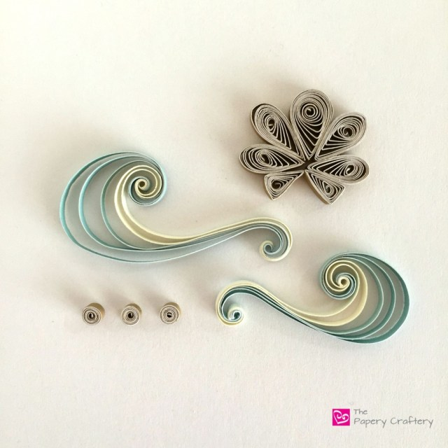 Quilling seashell and waves - How to use quilling for scrapbooking