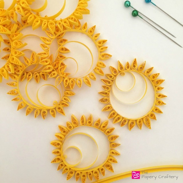 quilling yellow sun minis for scrapbooking - How to use quilling for scrapbooking