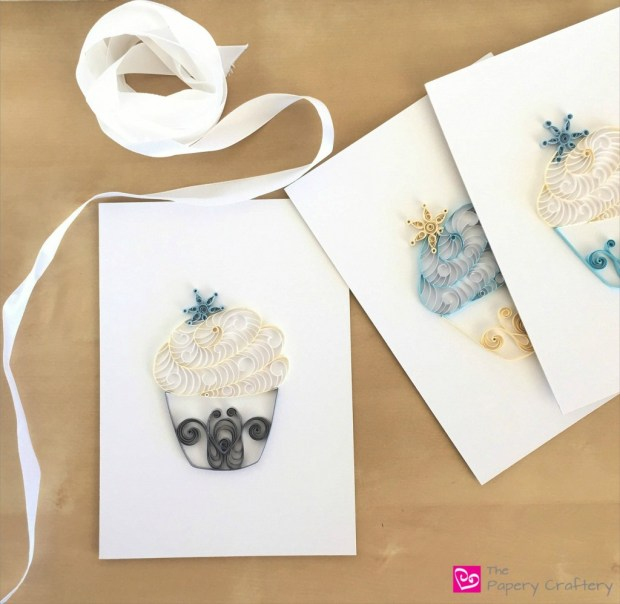 Paper Cupcakes with Snowflakes