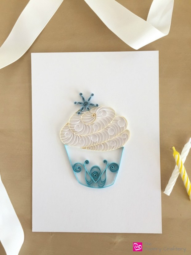 Turquise and White Quilling Paper Home Decor Cupcake with Snowflake