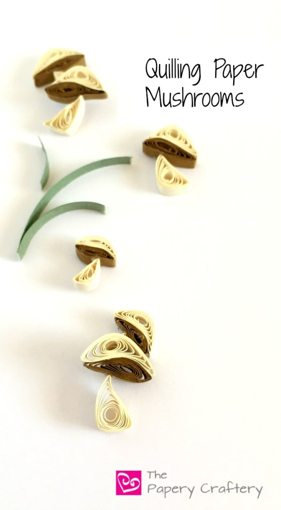 Quilling Paper Mushrooms - Mini quilling paper mushroom tutorial for paper crafting | thepaperycraftery.com