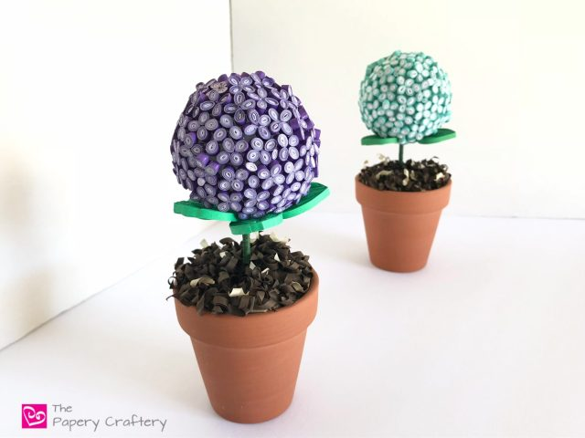 Quilling Paper Hydrangea Topiary ~ Roll tiny paper hydrangea blooms to create unique mini topiaries in real pots! www.ThePaperyCraftery.com