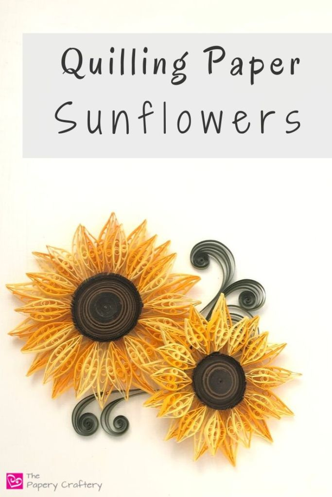 How to Make Quilling Paper Sunflowers - Two shades of yellow make this flower bold and lifelike!   ThePaperyCraftery.com