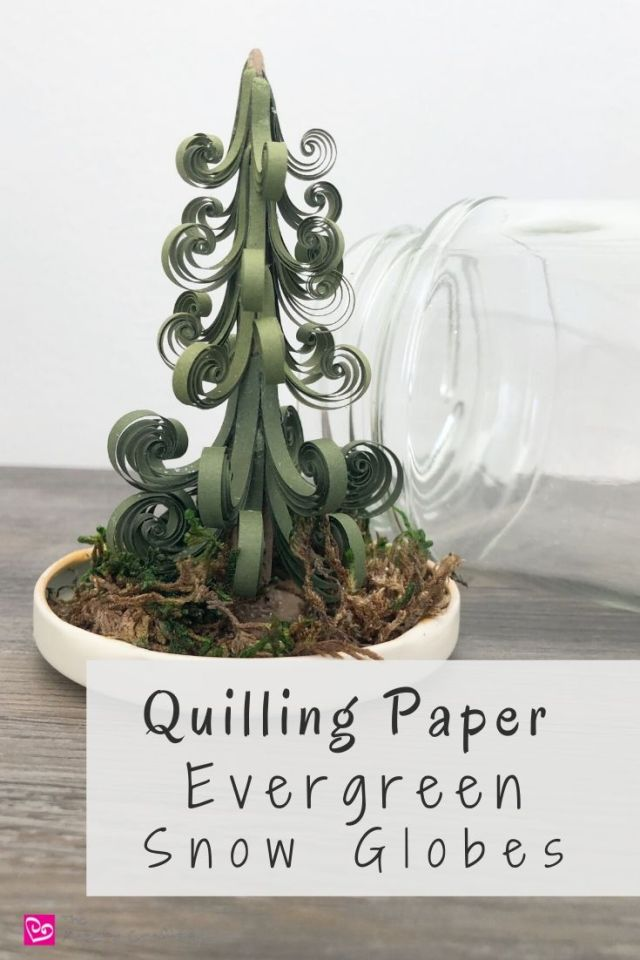 Quilling Paper Evergreen Snow Globes - Make use of glass jars to turn your 3D quilling into winter snow globes | ThePaperyCraftery.com