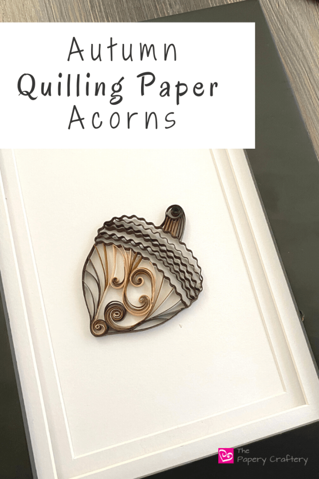 Brown quilling paper acorn in frame | The Papery Craftery