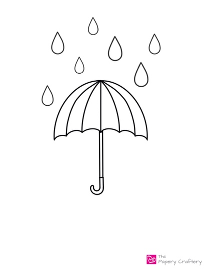 outline of umbrella with raindrops