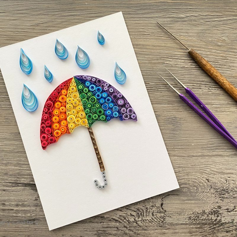 rainbow umbrella made of paper