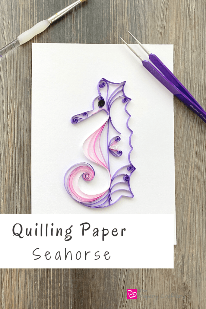 Purple quilling paper seahorse
