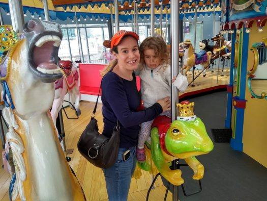 Cincinnati carousel.  Melani & Sophie.