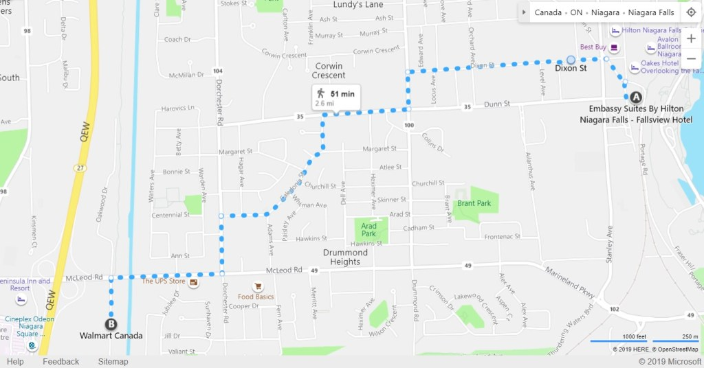 Map to walk from Embassy Suites Fallsview to Walmart