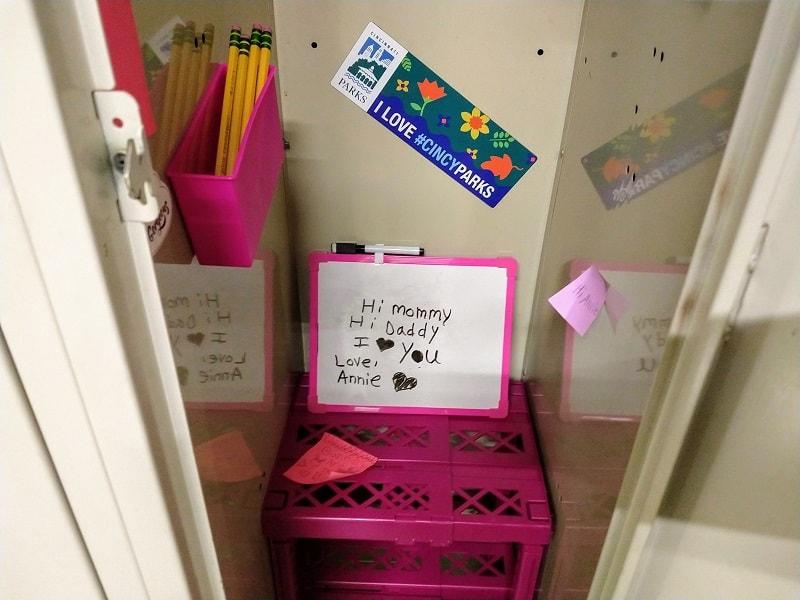 Inside of school locker