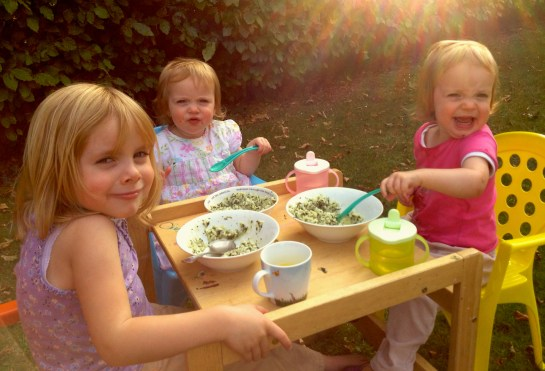Dining al fresco with spinach risotto - a favourite.