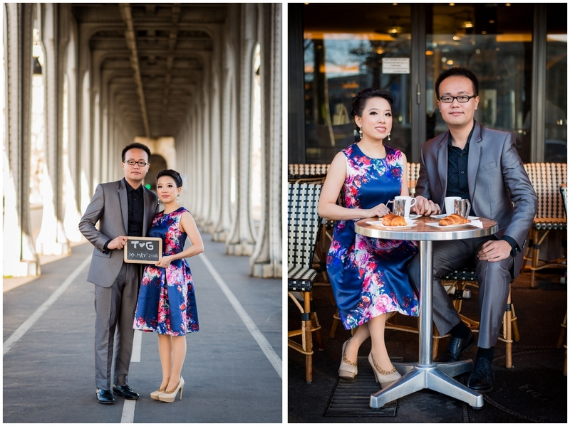 Pre wedding photo session Paris Inception bridge parisian cafe