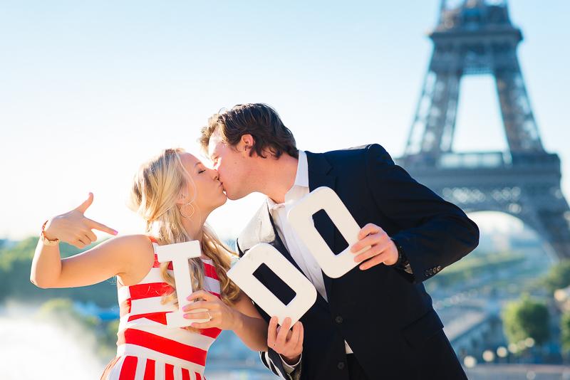 Fun engagement photo in Paris