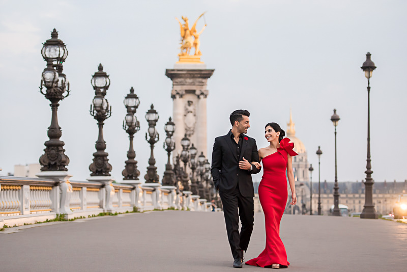 Engagement photos on the Alexander 3 bridge in Paris
