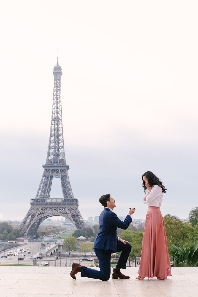 Paris proposal - guy popping the question while she says yes in Paris