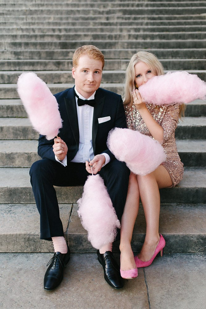 paris engagement photos with cotton candy and fancy pink shoes