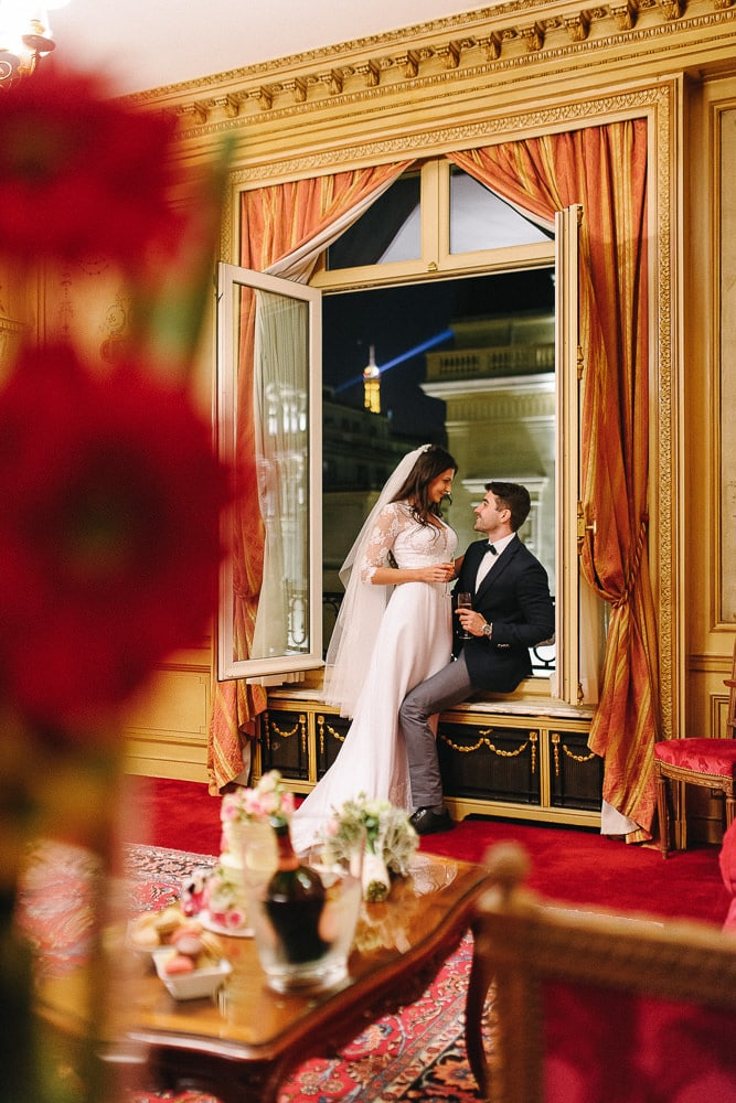 pre wedding photo package paris hotel raphael bride and groom romance with eiffel tower view room