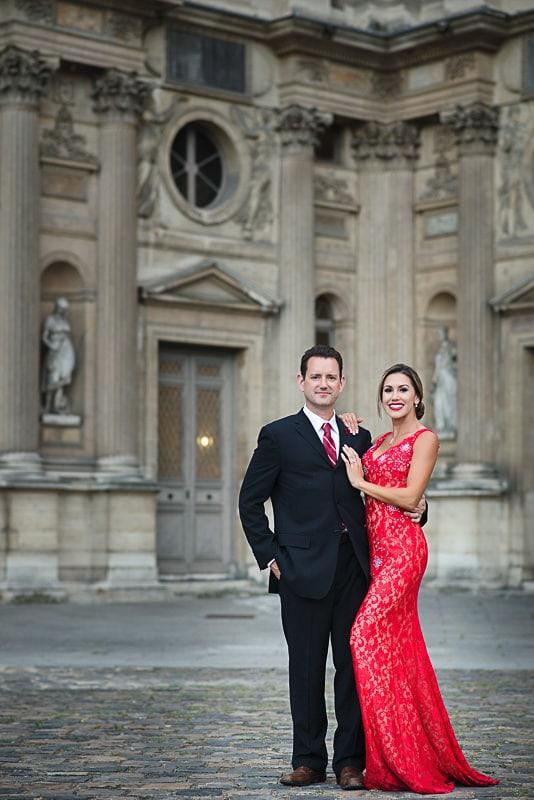 Elegant couple at Louvre Museum