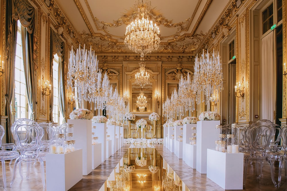 Luxury wedding ceremony setup by Estelle Monot events at the Shangri La Paris