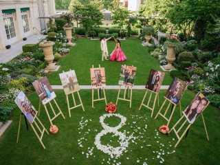 Best couple images – Indian couple dancing in the Shangri La garden on their engagement day