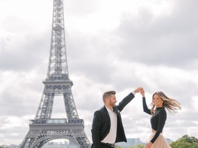Gorgeous couple dancing in Paris