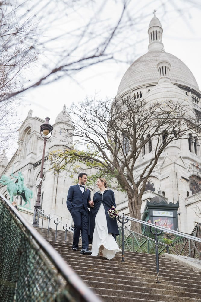 Elope to Paris on the stairs of Montmartre